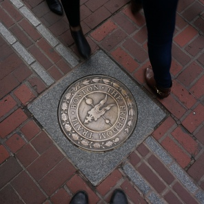 Part of the freedom trail in Boston.